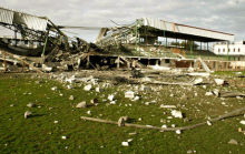 O Estádio de Gaza City foi bombardeado pela aviação israelita em Abril de 2006 e Novembro de 2012